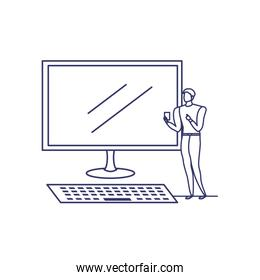 silhouette of man with computer screen in white background