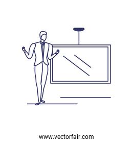 silhouette of man with screen in white background