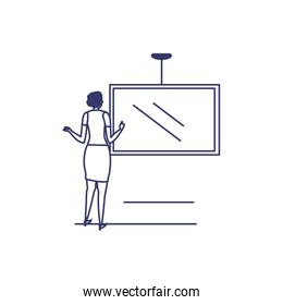 silhouette of woman with screen in white background