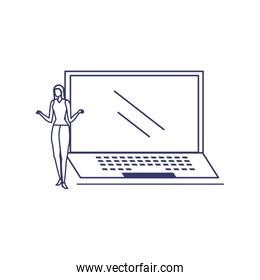 silhouette of woman with laptop in white background