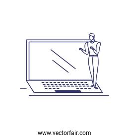 silhouette of man with laptop in white background