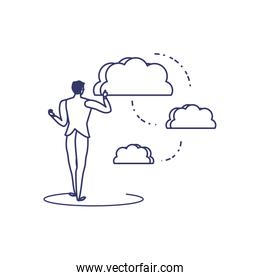 silhouette of man sharing cloud information