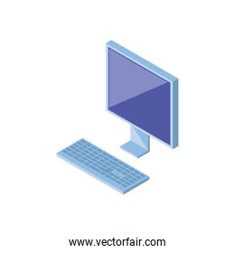 desktop computer screen with keyboard in white background