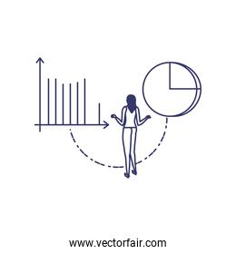 silhouette of woman with statistic bars in white background