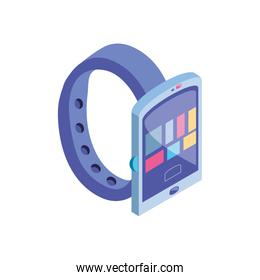 smart watch with apps icons in white background
