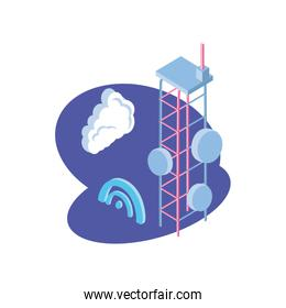 telecommunications tower in blue background