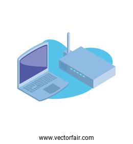 open laptop with wireless router on white background