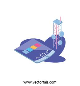 smartphone screen with telecommunications tower