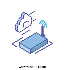 wireless router with cloud information computing