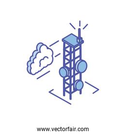 telecommunications tower in white background
