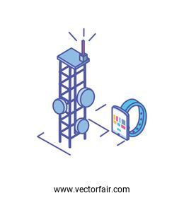 smart watch with telecommunications tower