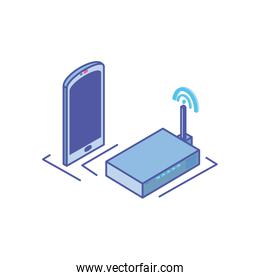 smartphone screen with wireless router