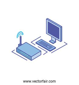 desktop computer screen with keyboard and wireless router