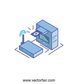 server equipment with wireless router on white background