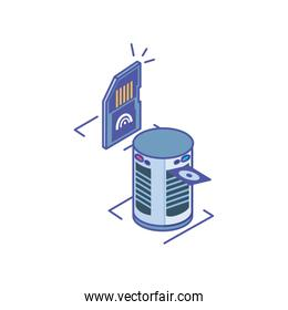 server equipment with micro sd card on white background