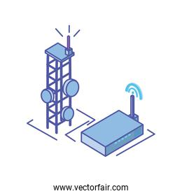 telecommunications tower with wireless router in white background