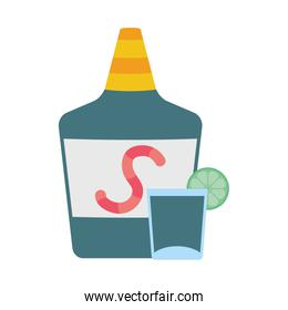 tequila bottle mexican isolated icon