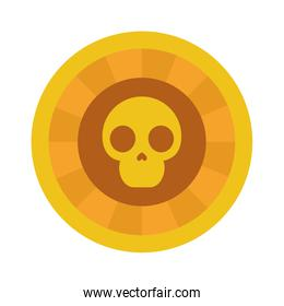 golden coin with mexican skull