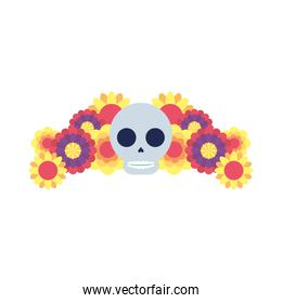 traditional mexican skull head with flowers garden