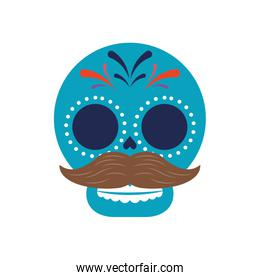 traditional mexican skull head with mustache