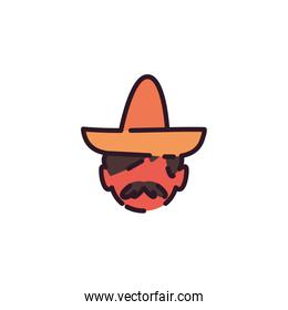 Isolated mexican man with hat vector design