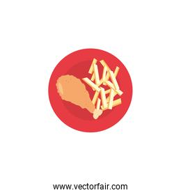 Isolated chicken with french fries icon vector design