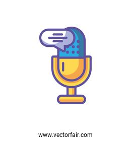 microphone with speech bubble on white background