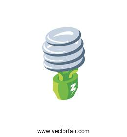 renewable energy bulb on white background