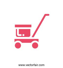 trolley delivery with box carton in white background
