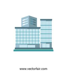 tower city business architecture, apartment and office building, urban landscape on white background
