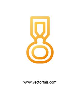 medal, stamp with ribbon on white background