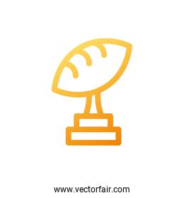 american football trophy on white background