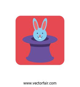 wizard hat with cute rabbit on white background