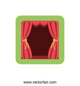 red theater curtains on white background
