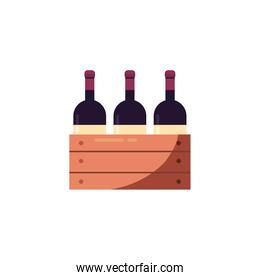 Isolated wine bottles inside box vector design