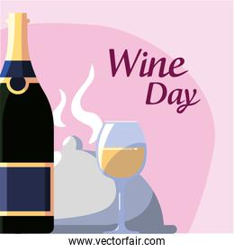 Bottle plate and cup of wine day  design