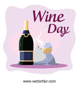 Bottle plate and cup of wine day vector design
