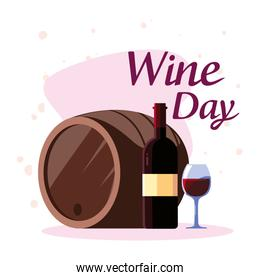 Bottle barrel and cup of wine day vector design
