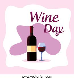 Bottle and cup of wine day vector design