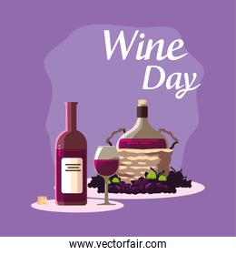 Bottle cup jar and grapes of wine day vector design