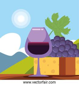 Wine cup cheese grapes in front of landscape vector design