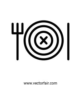 dish with knife and fork line style