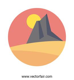desert landscape with mountains scene flat style icon
