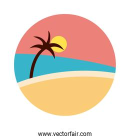 sea scape scene with palms flat style icon