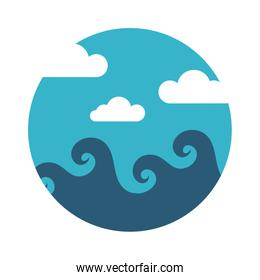 sea scape scene with clouds flat style icon