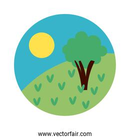 forest landscape day scene flat style icon