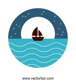 sea scape scene with moon and sailboat flat style icon