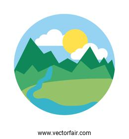 landscape scene with mountains ans river flat style icon