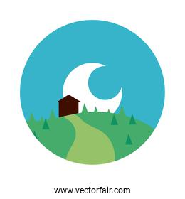 landscape scene with house and moon flat style icon