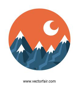 landscape with snow mountains scene flat style icon